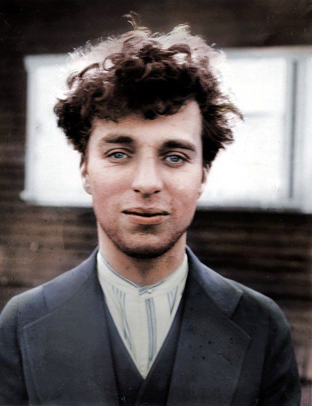 Charlie Chaplin 1916 color photo