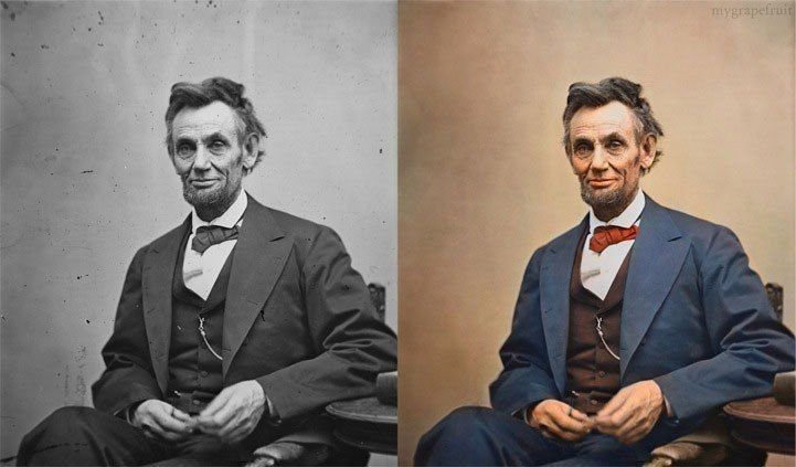 Colorized Abraham Lincoln 1865 photo