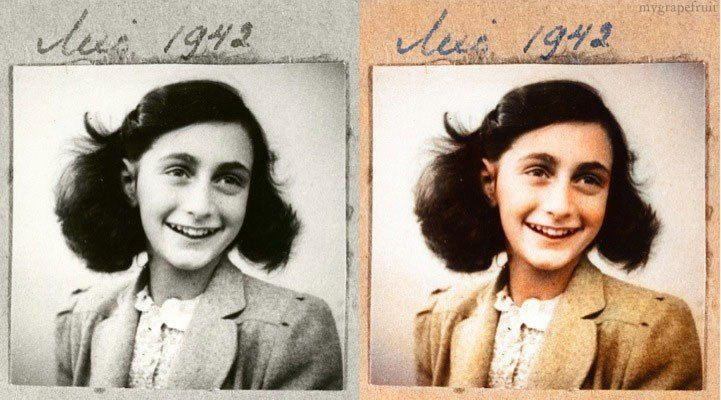 Colorized Anne Frank 1942 photo