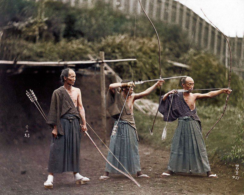 Japanese archers 1860 color photo