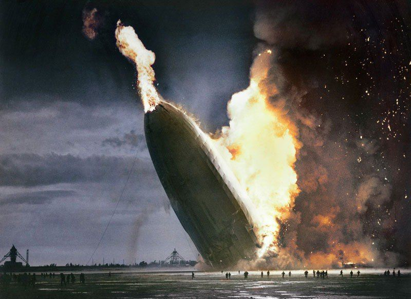 The Hindenburg disaster 1937 color photo