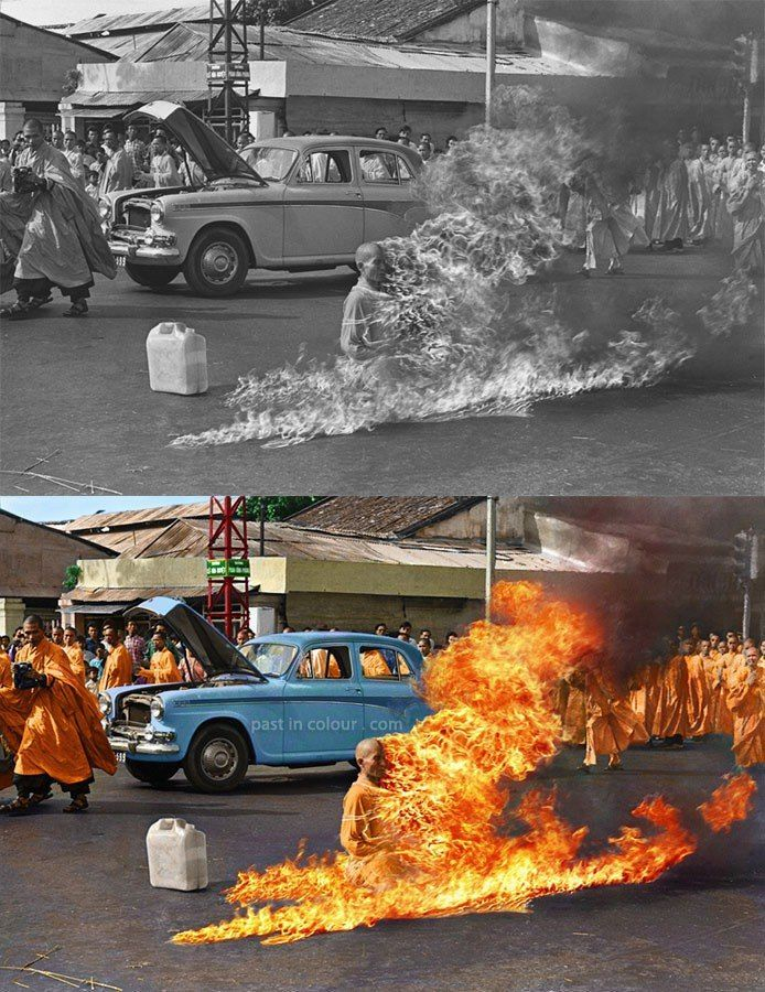Thich Quang Duc 1963 color photo