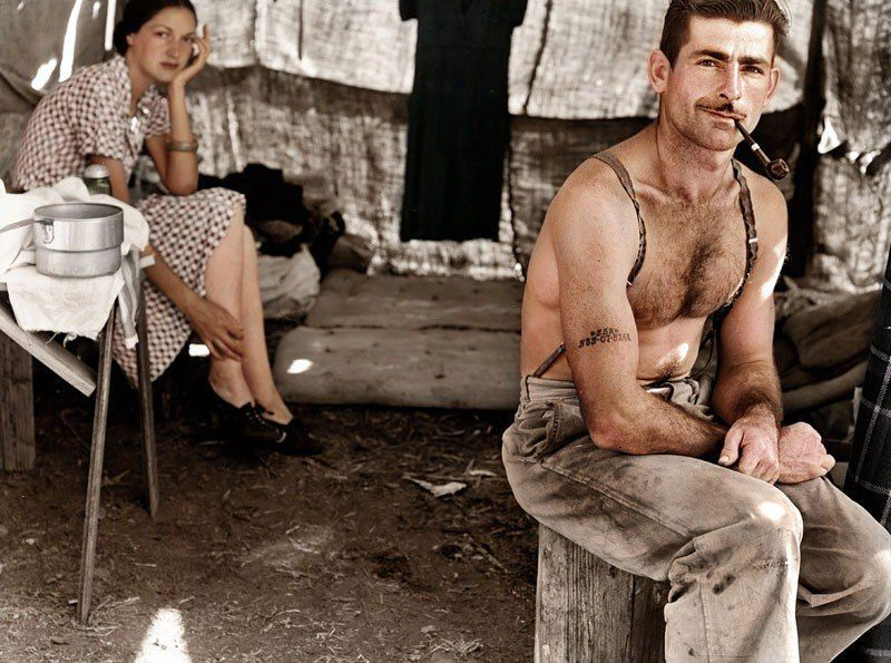 Unemployed lumber worker 1939 color photo