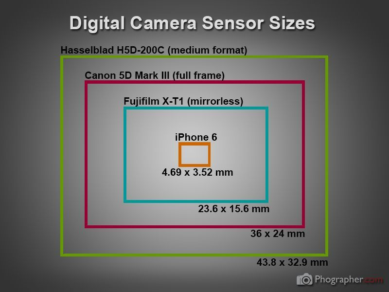 Digital camera and phone sensor sizes