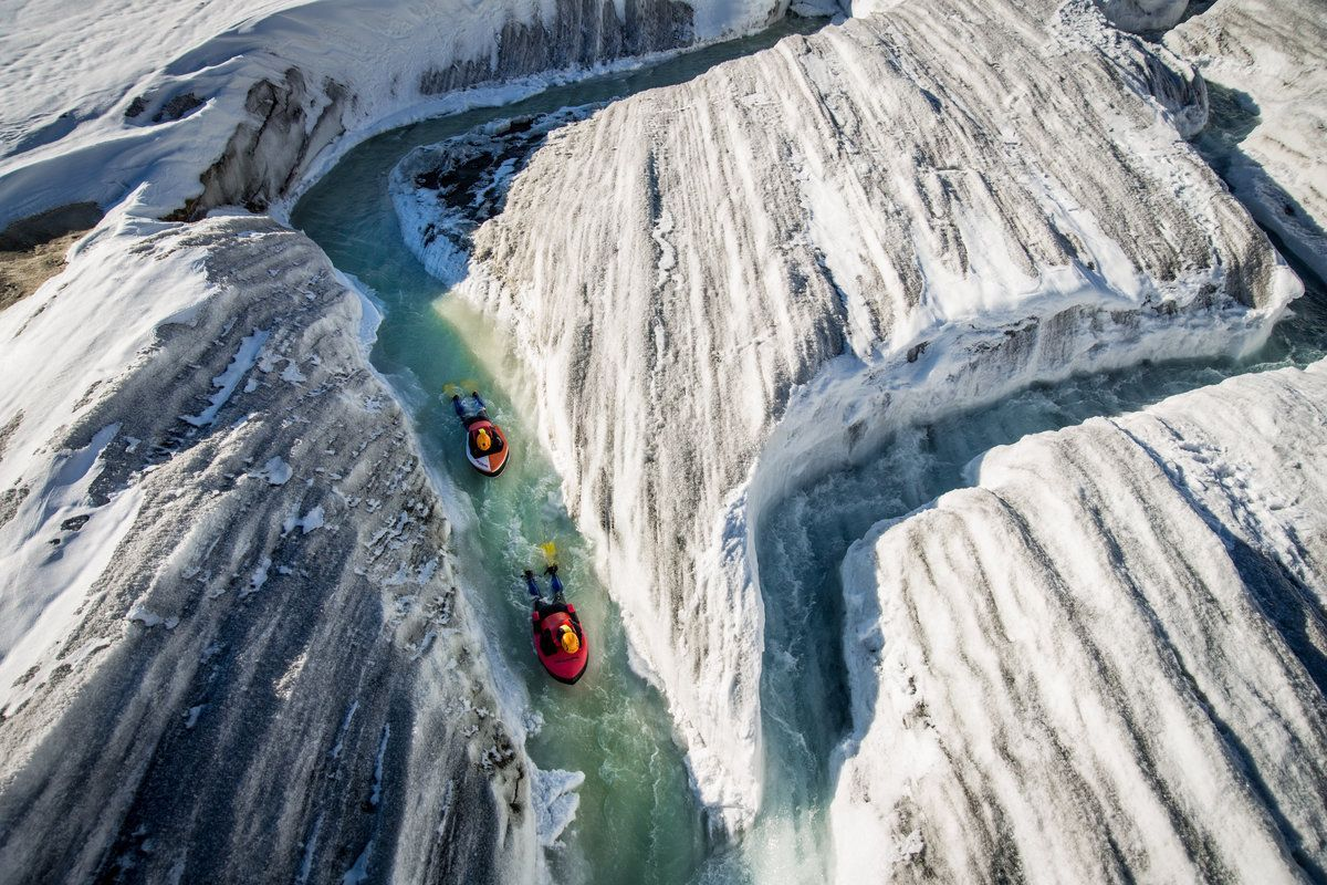Riverboarding down a glacial river