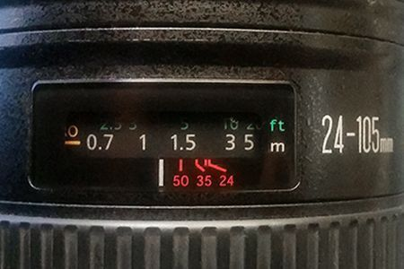 Distance meter for a Canon EF 24-105mm f/4L IS lens