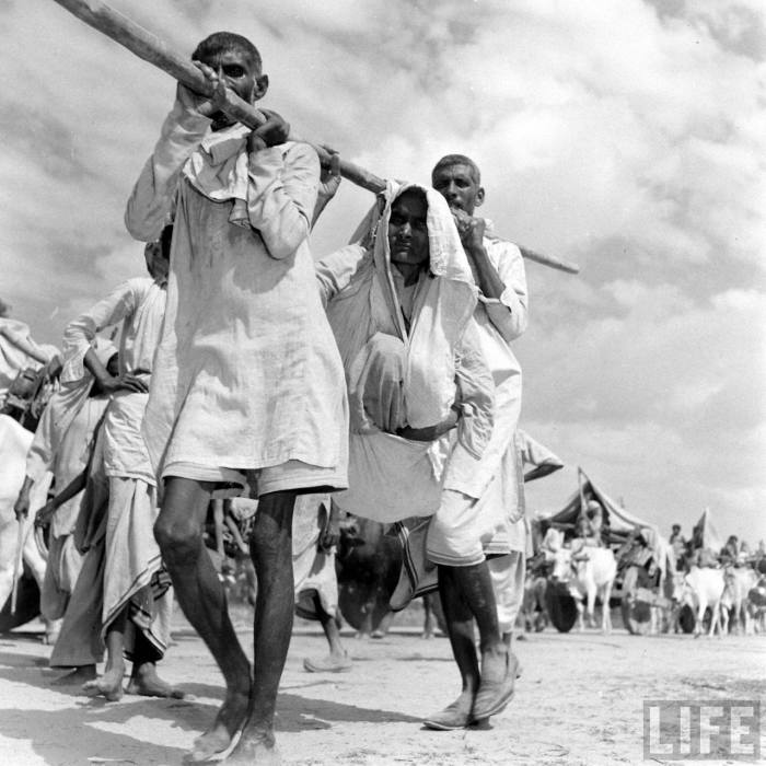 Carrying old woman partition of India