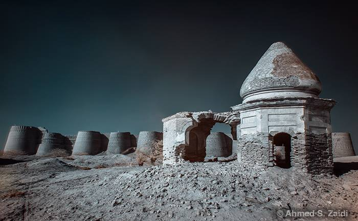 Infrared photo of an ancient ruin in Cholistan