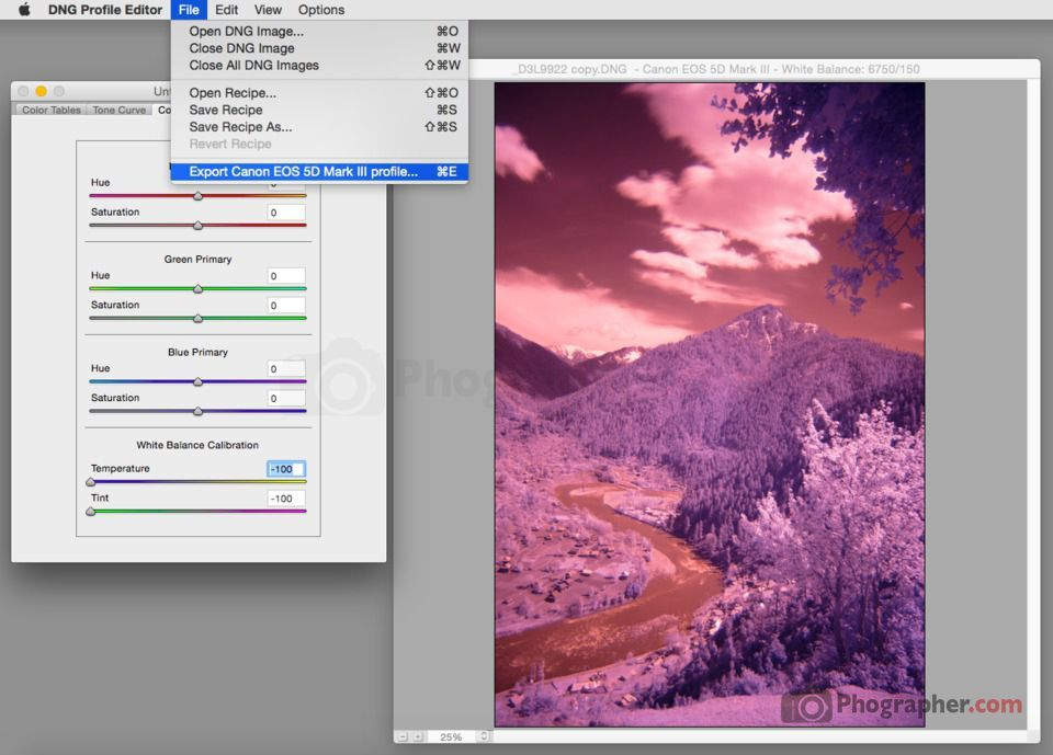 DNG Profile Editor export infrared profile