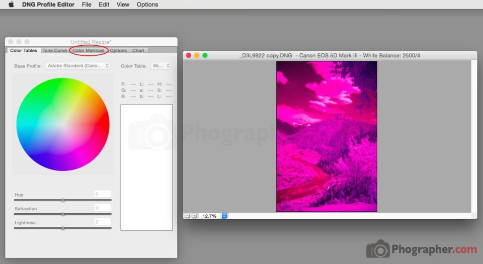 DNG Profile Editor infrared edit