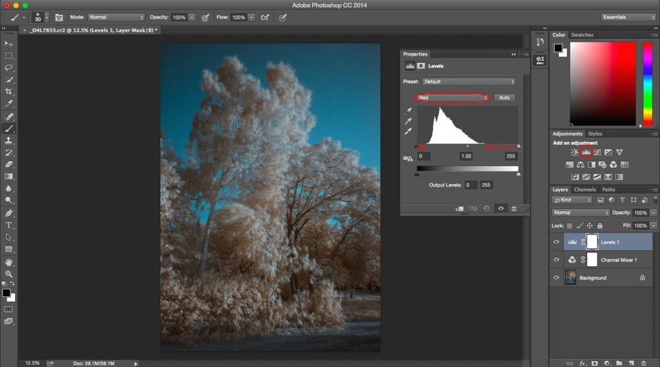 Infrared levels adjustment layer