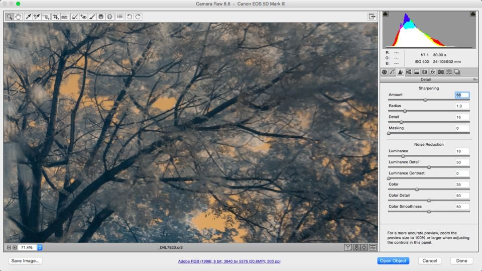 Infrared Raw sharpening noise reduction