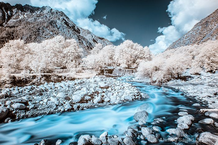 Infrared pic of a river in the Kalash valley