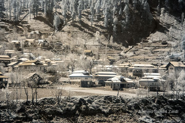 Infrared photo of huts in Sharda, Neelam Valley