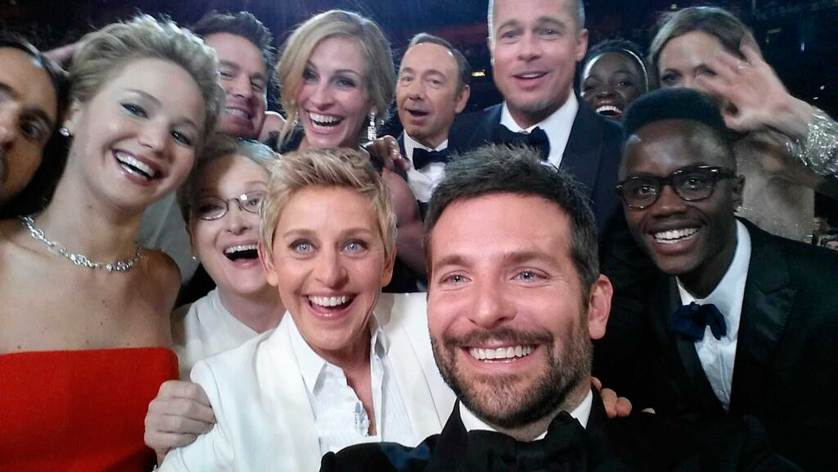 First in the top 10 photos of 2014 is this selfie image by Oscars show host Ellen Degeneres. Shot by Bradley Cooper at the 86th Academy Awards in Hollywood, California