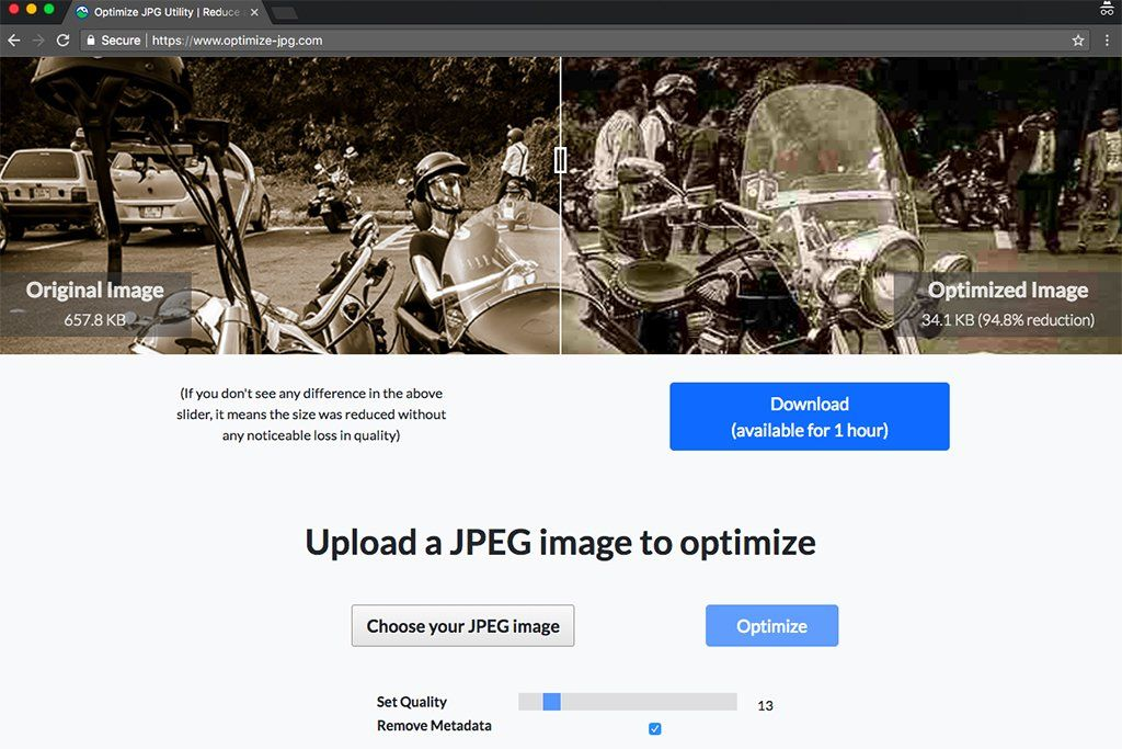 Optimize photo tool www.optimize-jpeg.com